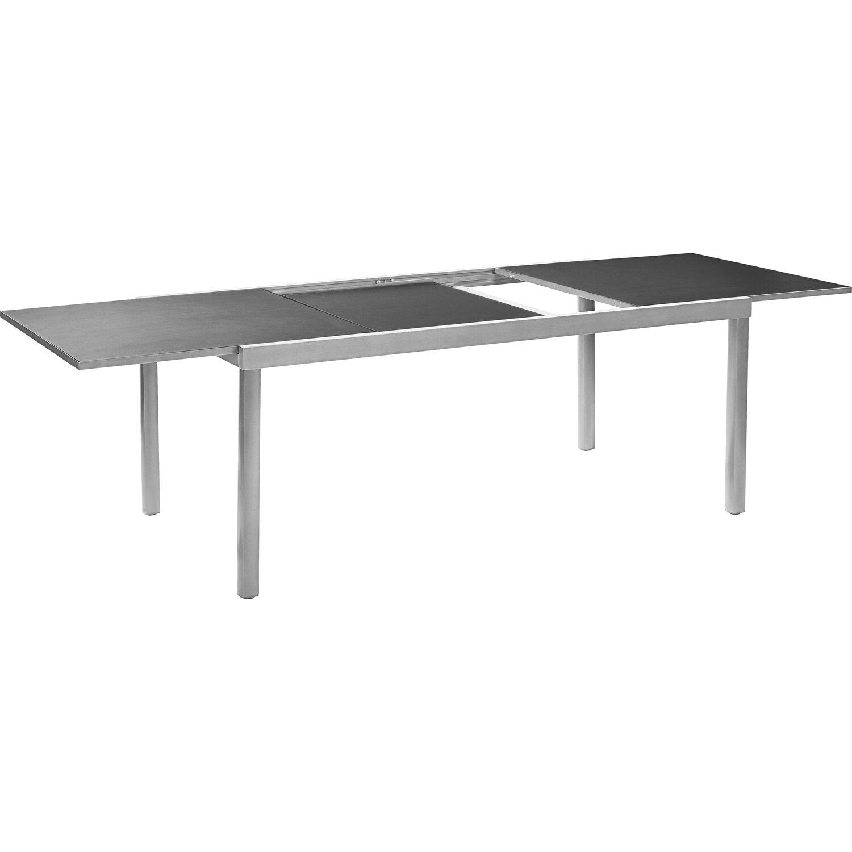 0bc382579984 OBI Sklenený záhradný stôl Harris 180 240 cm x 100 cm rozkladací  strieborný. Celá obrazovka. Celá obrazovka
